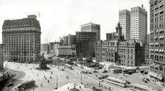 "Detroit circa 1915. ""Woodward Avenue and Campus Martius."" Among the Motown landmarks in this panorama of two 8x10 glass negatives are the Hotel Pontchartrain, Soldiers' & Sailors' Monument, Ford Building, Detroit City Hall and Dime Savings Bank. Detroit Publishing Company."