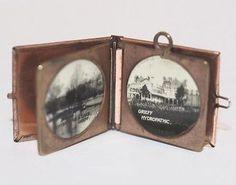 Antique 9k Gold Scottish Souvenir Book Pendant Bracelet Charm, Opens to Photos