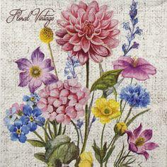 -One Paper Napkin; Floral Vintage, Vintage Paper, Rifle Paper, Decorative Paper Napkins, Napkin Cards, Vintage Rosen, Paper Napkins For Decoupage, Decoupage Tutorial, Collage