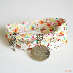 Bracelet Liberty multicolore dancing kites - gravé personnalisé