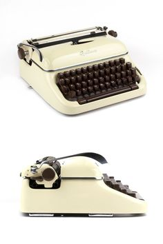 This beautiful portable typewriter was produced around 1957 by Optima (formerly Olympia) in East Germany. The Optima Elite is a very solid constructed working machine with a lovely curvy design. The lovely vanilla color combination of the cream colored paint and the brown keys and knobs is very rare and hard to find.  The Optima Elite 3 is in excellent condition and fully working. The original case has also been cleaned and its overall condition is good despite its age. The typewriter is…