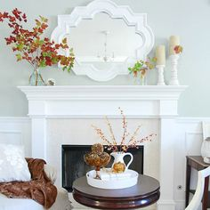 White Fall mantlepiece Fresh Ideas for Fall Decorating