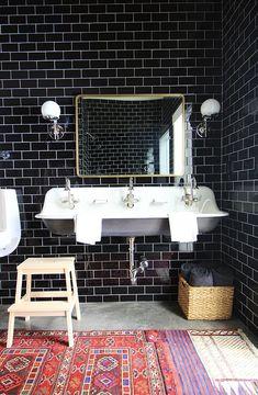 Warming Up A Black Tiled Bathroom