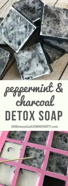 Easy DIY peppermint & charcoal detox soap recipe with peppermint essential oil. Helps increase circulation, unclogs pores, remove impurities, fight acne, and improve the health of your skin. {essential oils for skin, acne, faces, tightening, skincare, Young Living, doTERRA, activated charcoal, melt and pour soap}