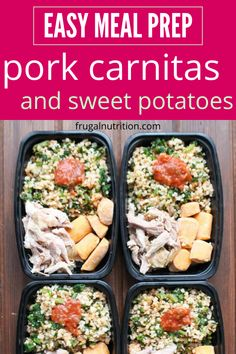 Pork Carnitas and Sweet Potatoes is a great meal prepping dish to stock your freezer with. Tender shredded pork, cauliflower mix, and sweet potatoes. Hearty, filling, and loaded with nutrients. #pork #carnitas #sweetpotatoes #mealprep #cauliflowerrice #healthy #frozenprepping Pork Roast Recipes, Pork Tenderloin Recipes, Homemade Frozen Meals, Sweet Potato Burrito, Planning Budget, Meal Planning, Shredded Pork, Slow Cooker Pork, Carnitas
