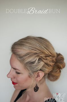 Double braid bun hairstyle tutorial