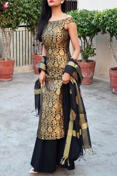 Buy Black Brocade Padded off Shoulder Kurta Online in India Designer Party Wear Dresses, Kurti Designs Party Wear, Indian Designer Outfits, Party Dresses For Women, Designer Kurtas For Women, Dress Indian Style, Indian Dresses, Indian Outfits, Kurta Designs Women