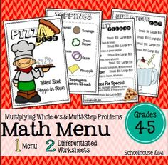 A cute and fun pizza math activity to engage your students!Included:*  Pizza Pies menu (both color & BW included!)*  2 differentiated worksheets*  Answer KeysThe following topic is covered in this activity:* Multiplication of 2-digit by 1-digit and 2-digit by 2-digit numbers* Multi-step problemsThis activity measures student's real world problem solving and reasoning skills.