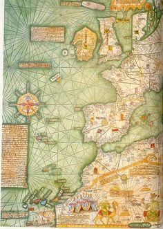 f-featherbrain: Mapamundi 1375 de Pedro IV de Aragón Primera parte del Mapamundi de 1375, realizado por Abrahan Creques para Pedro IV de Aragón y regalado al rey de Francia. Actualmente en la Biblioteca de Francia