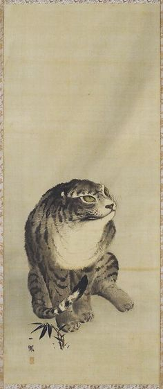 Tiger, from a Tiger and Dragon pair, 1868. Japanese hanging scroll. Mori Ippo. Ink on silk. Minneapolis Institute of Arts.
