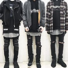 Ren owns all three of these outfits. The one on the left just never sees the light of day. #KoreanFashion