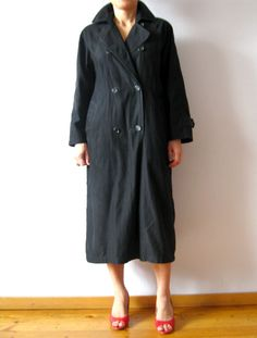 Vintage 90s Black Trench Coat Double Breasted by VintageDreamBox