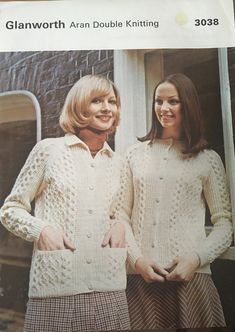 Excited to share this item from my #etsy shop: Ladies Aran Jackets in Double Knitting Knit Jacket, Vintage Knitting, Double Knitting, Knitting Patterns, Dresses With Sleeves, Lady, Long Sleeve, Sweaters, Jackets