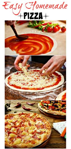 Homeade Pizza Recipe. Pizza can be a great weeknight option, as they are quick to make. They also are fun for entertaining. My kids love to make their own, so you can set out a toppings bar, and let everyone make their own personal pizzas (less work for you too).