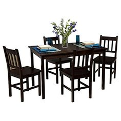 Edgeworth 5 Piece Dining Set, Includes Table And 4 Chairs (Espresso) TMS  Http