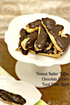 Peanut Butter Toffee Chocolate Eclairs www.fooddonelight.com