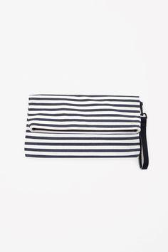 Striped canvas pouch