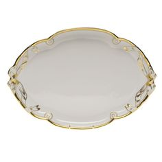 """Herend Gwendolyn Ribbon Tray 11""""W X 15.75""""L Herend China, China Porcelain, Fine China, Gold Accents, Blue Sapphire, Tray, Ribbon, Pottery, Tableware"""