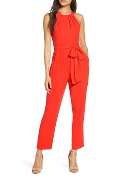 Free shipping and returns on Eliza J Halter Jumpsuit at Nordstrom.com. A generous tonal sash adds a pretty accent at your waist in this color-saturated halter jumpsuit with convenient side pockets.