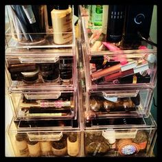 Emily Maynard, thank you for the fabulous idea of these stackable and CHEAP shoe boxes for makeup storage!!! SO doing this!