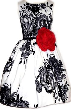 Zoe Ltd Black and White Flocked Floral Night at the Oscars Tween Girls Dress