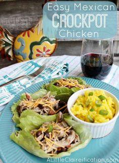 Easy Mexican Crockpot Chicken Lettuce Wrap | 29 Fresh And Delicious Lettuce Wrap Ideas