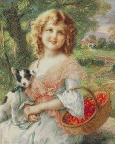 """The Cherry Pickers"" by Emile Vernon, French painter. Art Vintage, Vintage Prints, Vernon, Vintage Pictures, Vintage Images, Beaux Arts Paris, Munier, Victorian Valentines, Girls With Flowers"