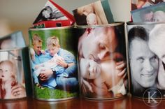 Recycled cans with photos