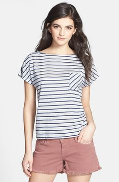 Hinge Stripe Crop Tee Heather Grey/ Navy Stripe