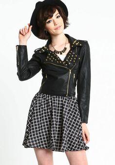 Studded Faux Leather Jacket, BLACK, large