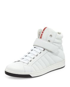 Quilted Napa Grip-Strap High-Top Sneaker, White by Prada at Neiman Marcus. Prada Sneakers, White Sneakers, High Top Sneakers, Sneakers For Sale, High Tops, Men's Shoes, Pumps, Mens Fashion, Things To Sell