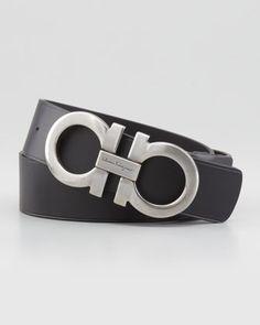 Large-Gancini-Buckle Belt, Black by Salvatore Ferragamo at Neiman Marcus.