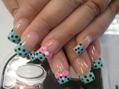 Blue french with dots n bows
