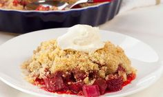 This comforting dessert is fruity and filling with its buttery oat topping. Use tinned fruit if you don't have fresh and serve with ice cream or cream for extra yum.