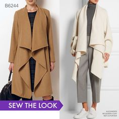 Sew the look: Blanket coats are on-trend for fall and beyond. Look for soft coatings and double-sided fabrics. Butterick in camel or burgundy(or cream). 3 yards double-faced wool (wrong side shows) Butterick Sewing Pattern Misses'/Women's Draped Collar Co Coat Pattern Sewing, Sewing Coat, Sewing Clothes, Pattern Drafting, Barbie Clothes, Girl Dress Patterns, Coat Patterns, Blouse Patterns, Skirt Patterns