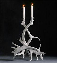 Splendid Avenue - Ilse Jacobsen, Odd Molly, Royal Copenhagen, Scandinavian, Home Decor — Tall Swedish Reindeer Candlestick, White