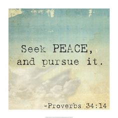 """""""Pursue peace with all people, and holiness, without which no one will see the Lord""""   Hebrews 12:14"""