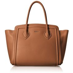 Furla College Large Tote Bag ($578) ❤ liked on Polyvore featuring bags, handbags, tote bags, furla tote, leather purse, brown leather tote bag, zip tote and leather zipper tote