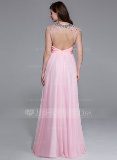 A-Line/Princess Scoop Neck Floor-Length Chiffon Tulle Prom Dress With Ruffle Beading (018025463)