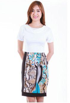 Amanda Abstract Cowl Sheath Dress