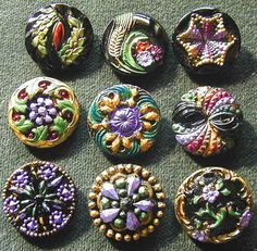Collection of 9 Czech Antique 1920's Glass Buttons