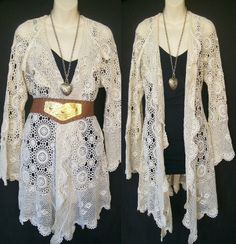 Vintage Crochet Lace | handmade from VINTAGE crochet lace maxi cardie flared sleeves boho ...