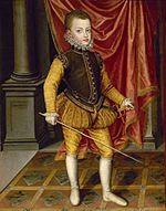 Ferdinand, Prince of Asturias (1571 - 1578). Son of Philip II and Anne of Austria.