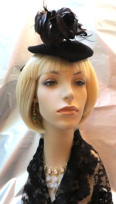 f9a5a582865 Ladies RARE Vintage Black NY Creations Felt Tilt Topper Hat