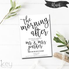For The Morning After The Best Night Ever! Post Wedding Brunch Invitations  With Modern Calligraphy