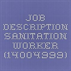 sanitation worker job description
