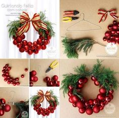 This Christmas Bauble Wreath is very EASY and INEXPENSIVE to make decoration. Why not to Craft your own Christmas. The post The Perfect DIY Christmas Bauble Wreath With Metal Hanger appeared first on The Perfect DIY. Diy Christmas Baubles, Christmas Ornament Wreath, Xmas Wreaths, Noel Christmas, Christmas Balls, Simple Christmas, Burlap Christmas, Ribbon Wreaths, Yarn Wreaths