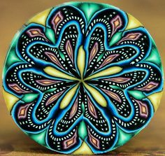 Circle Kaleidoscope Polymer Clay Cane 'Cosmic by ikandiclay, $14.00