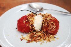 Poached tamarillo and coconut crumble. Photo / Doug Sherring