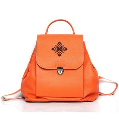Puffin Orange Embroidered Leather Backpack ❤ liked on Polyvore featuring bags, backpacks, leather daypack, leather over the shoulder bag, day pack backpack, leather rucksack and backpacks bags